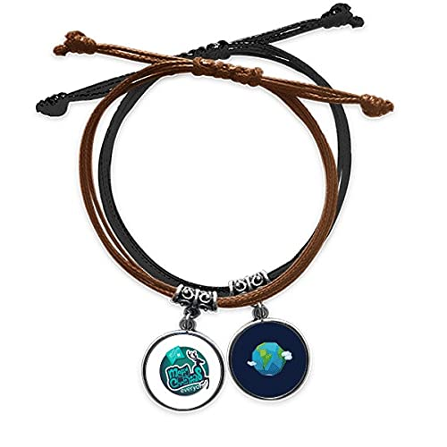 Bestchong Merry mas Blue Reindeer Illustration Bracelet Rope Hand Chain Leather Earth Wristband