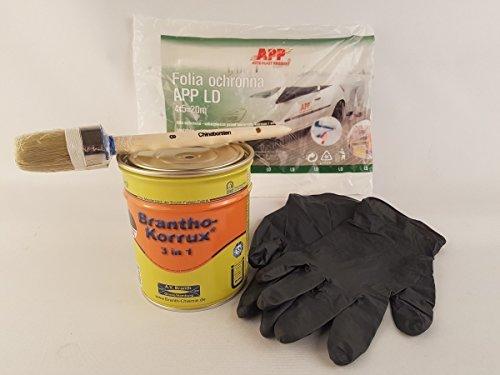 Brantho Korrux 3 in1 schwarz 750ml Dose Rostschutz Metallschutzfarbe incl. Verarbeitungsset