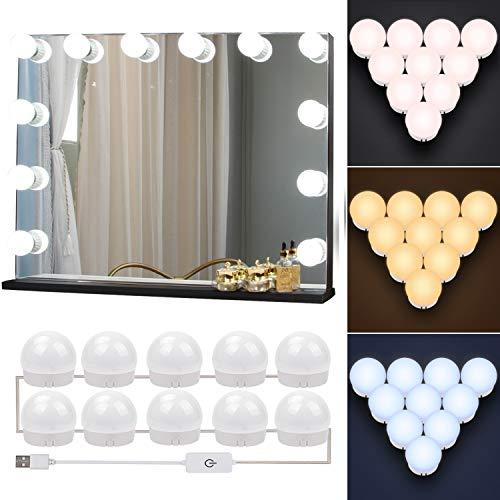 Led Spiegelleuchte, Led Spiegelleuchte Dimmbar Hollywood Stil Schminklicht 10 Kugeln Schminktisch Beleuchtung Berührungsschalter für Schminkspiege, Kosmetikspiegel, Badzimmer