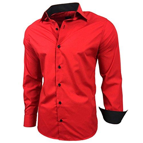 Baxboy Kontrast Herren Slim Fit Hemden Business Freizeit Langarm Hemd RN-44-2, Größe:XL, Farbe:Rot