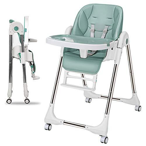 LBLA Hochstuhl Baby Kinderhochstuhl Verstellbarer Baby-Fütterungsstuhl mit Tablett und Rädern, Geeignet für Jungen und Mädchen von 6 Monaten Bis 3 Jahren (Grün).
