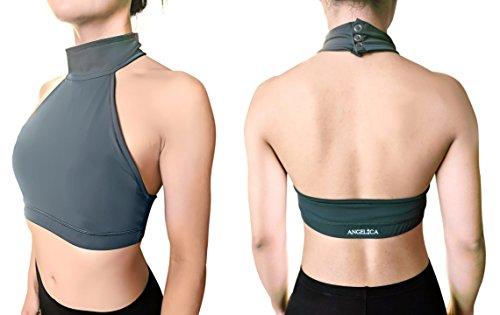 Angelica Polewear Pole Dance Halter Top Open-Back Padded Sports Bra for Women (Small) Dark Grey