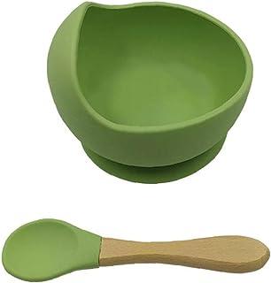 NIDONE Silicone Bowl Spoon First Scen Baby Självfodertillbehör Set för spädbarn Småbarn Gröna