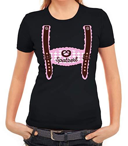 ShirtStreet Wiesn Damen Frauen T-Shirt Rundhals Oktoberfest - Mädchen Lederhose Spatzerl, Größe: S,schwarz