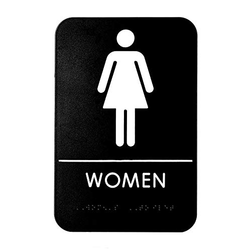 Alpine Industries Women's Braille Restroom Sign - ADA Compliant Self Adhesive Black & White Bathroom Door Placard for Offices Restaurants & Businesses