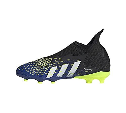 adidas Predator Freak .3 LL FG J, Chaussure de Football, Core Black FTWR White Solar Yellow, 35 EU