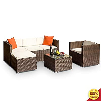 MOOSENG Modern Wicker Conversation Sectional Sofa Chairs 4 Pieces Outdoor Rattan Patio Furniture Set, with Cushioned Couch & Glass Top Coffee Table, for Garden Lawn Poolside Backyard Brown