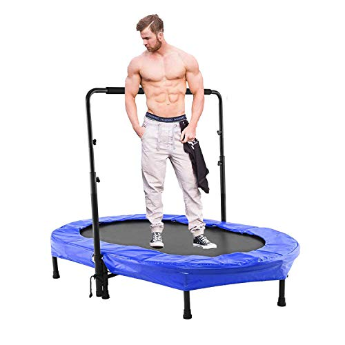 Scallop Mini Rebounder Trampoline with Adjustable Handle for Two Kids, Parent-Child Twins Trampoline | Max. Load 220LBS (Blue)