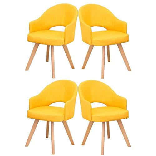 HYZXK Sillas de Comedor Cojín tapizado de Tela Silla Acolchada Lateral de Cocina con Patas de Madera Maciza Juego de 4 Taburete de Maquillaje para sofá de Ocio (Color: Amarillo)