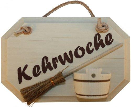 Kaltner Präsente Holz Schild Türschild aus massivem Ahorn Schriftzug KEHRWOCHE mit aufgeklebtem Besen und Eimer