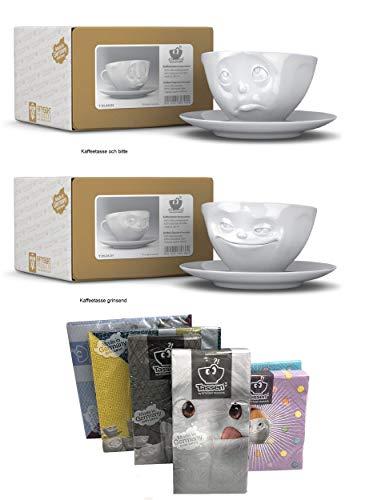 FIFTYEIGHT PRODUCTS Kaffeetassen 2er Set + Servietten, 200 ml, Och Bitte+GRINSEND