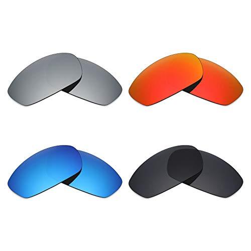 Mryok 4 Paar Gepolariseerde Vervangende Lenzen voor Oakley Blender Zonneglas - Stealth Zwart/Vuur Rood/IJsblauw/Zilver Titanium