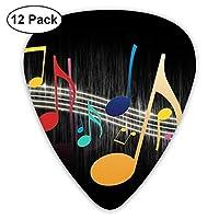 ギターアクセサリ カラフルな音符アート ギターピック 12枚セット ピック 様々な厚さ カラフル 収納ボックス付