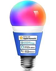 Meross Smart wifi-gloeilamp, werkt met Apple HomeKit, wifi-lamp, led, meerkleurige dimbare gloeilamp, compatibel met Siri, Alexa, Google Home en SmartThings, E27 warmwit