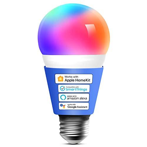 Meross Bombilla LED Multicolor, Inteligente, WiFi, Regulable, Mando a distancia, 9W, E27, 2700-6500 K, Compatible con Apple HomeKit, Alexa Echo y Google Home