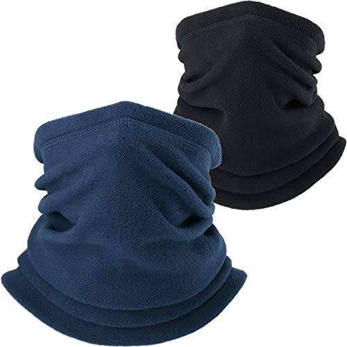 AXBXCX Neck Warmer Gaiter - Windproof Ski Mask - Cold Weather Face Motorcycle Mask Thermal Scarf Winter for Running Snowboarding Fishing Hunting Off-Roading Black + Blue