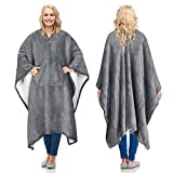 Catalonia Sherpa Wearable Blanket Poncho for Adult Women Men,Wrap Blanket Cape with Pocket,Warm,Soft,Cozy,Snuggly,Comfort Gift,No Sleeves,Grey