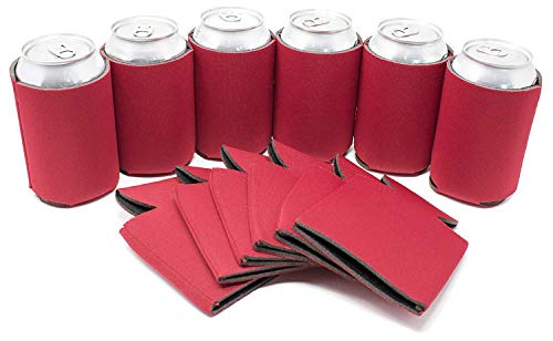 TahoeBay 12 Blank Beer Can Coolers, Plain Bulk Collapsible Soda Cover Coolies, DIY Personalized Sublimation Sleeves for Weddings, Bachelorette Parties, Funny HTV Party Favors (Red, 12)