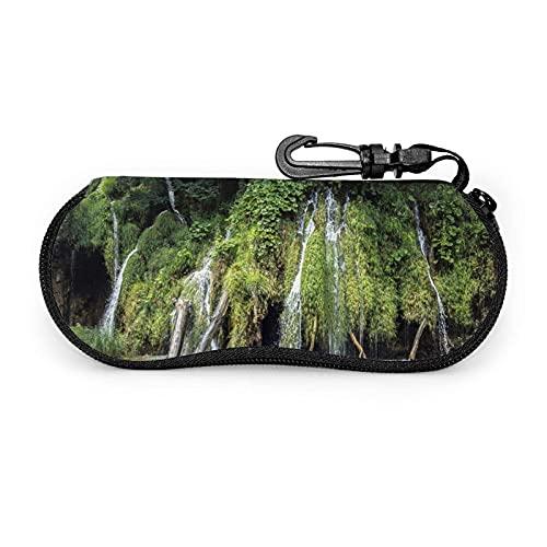 Caja de vidrios de la impresión de la Cascada, Caja portátil Ultraligera de Las Gafas de Sol de la Cremallera del Neopreno