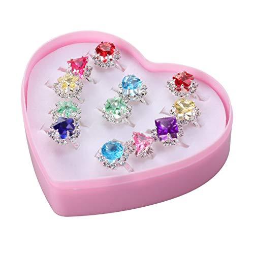 PartyKindom Anillos Ajustables de Cristal para Niñas 12 Piezas Anillo de Princesa Diamante con Caja en Forma de Corazón para Niños Niñas Pequeñas