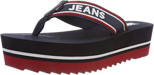 Tommy Jeans Damen POP Webbing MID Beach Sandal Zehentrenner, Blau (Midnight 403), 39 EU