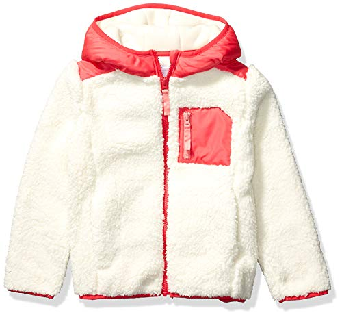 Amazon Brand - Spotted Zebra Kids Girls Hooded Sherpa Fleece Jacket, Ivory/Pink, Small
