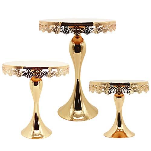 Juego de soporte para tartas de cristal dorado galvanizado con espejo dorado para decoración de mesa de bodas 3 pieces set blanco