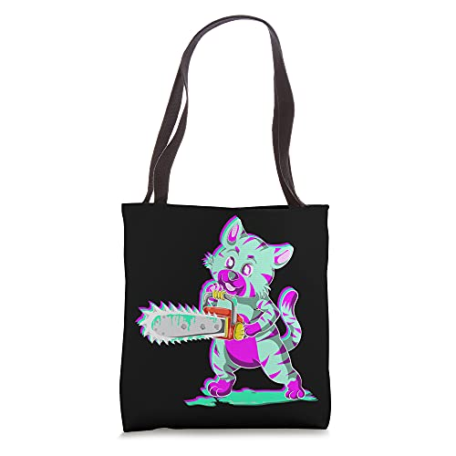 Scary Pet Animal Chainsaw Vaporwave Aesthetic Creepy Cat Tote Bag