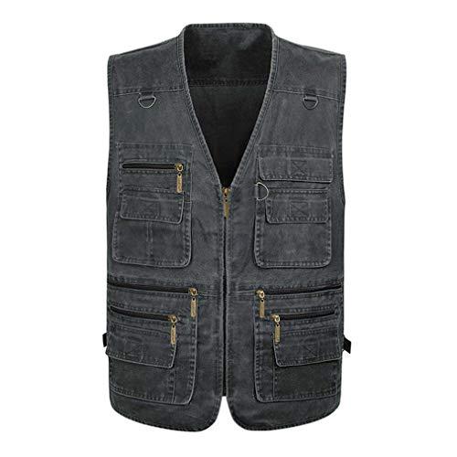 Kleding yd Heren Cowboy Vest, Outdoor Werk 16 Zakken Grote Maat Katoen Zip-Up Taillejas Jack, Mouwloze Top Fotografie Wandelen Gilet Waistcoat