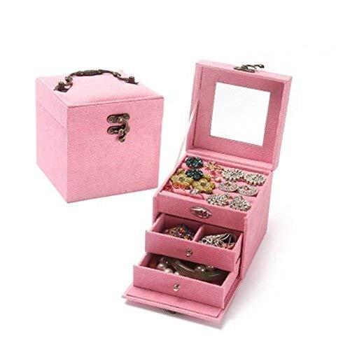 Kleine bewegliche Ohrringe Ring Box-koreanische Version der Mini-Prinzessin Schmuck Storage Box DREI-Schicht Tragbare Suede Tuch Aufbewahrungsbehälter