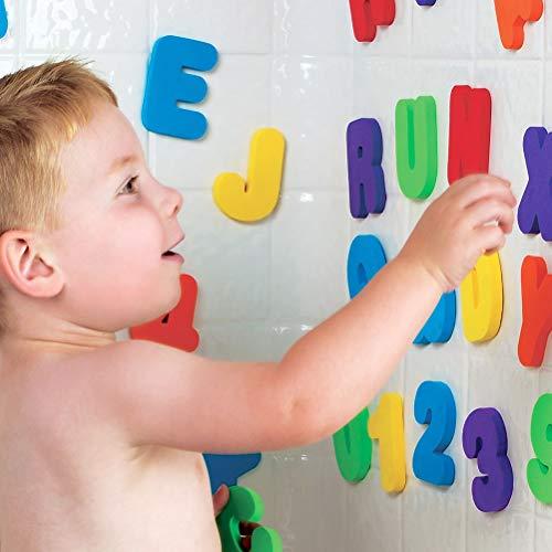 Badewanne Sticker schwebende Buchstaben, Kinder Badespielzeug Baby Pädagogisches Badezimmer Alphabet Spielzeug Schaum Schwimm Badewanne Aufkleber 36 Stücke