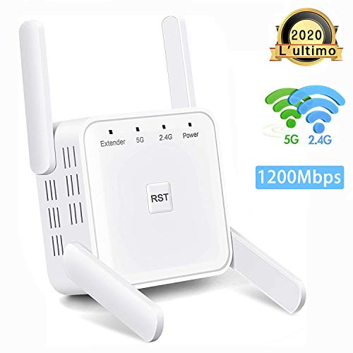 ZEPHYR 1200Mbps WiFi Router/Ripetitore/AP Extender Booster Range Mini AP Hotspot Access Point 5GHz/2.4GHz Amplificatore di Segnale Adattatore di Rete con 4 Extra Antenne Copertura Router