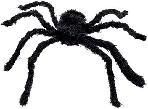 Boland 74394 - Haarige Spinne, Größe max. 70 cm, Schwarz, biegsam, Plüsch, Dekoration, Spielzeug, Halloween, Karneval, Mottoparty