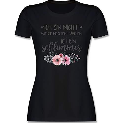 Typisch Frauen - Ich Bin Nicht wie die meisten Mädchen Ich Bin schlimmer - M - Schwarz - Meister t Shirt - L191 - Tailliertes Tshirt für Damen und Frauen T-Shirt