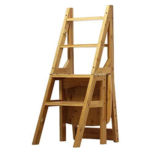 NYDZDM trapladder 4 Converteren Ladder Vouwstoel Stoel Stoel Stoel Ladder Bamboe Stoel Stap Ladder trapladder Hoge Kruk Tuin Implement Zware Duty Intensief Gebruik Max. 150 kg.