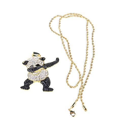 TSBB Animal Panda Colgante Hip Hop Dancing Funny Rock Hip Hop Collar, Regalo para Hombres