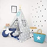 Nyra decor Portable Teepee Tents with Padded Mat and Cushions Free Kit Bag Grey Blue