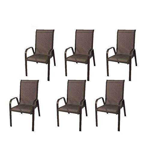 Edenjardi Pack 6 sillones de Exterior apilables, Tamaño: 57x74x96,5 cm, Aluminio Reforzado Color Antracita, Textilene Color Plata y Negro