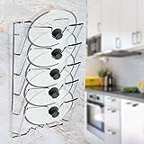 Topfdeckelhalter, 5-lagig Wand- / Türmontage Deckelhalter zum Aufbewahren von Pfannendeckeln im Küchenschrank, 43.4 * 27.8 * 9.7cm
