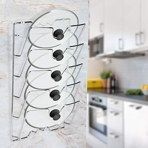 Topfdeckelhalter, 5 Schichten Deckelhalter Küche Pfanne Halter Rack für Pfannendeckel für Zuhause, Küche, Restaurant, Wand-/Türmontage, 43,4 * 27,8 * 9,7 cm