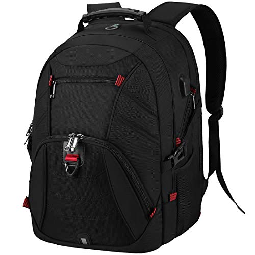 Laptop Backpack 17.3 Inch Extra Large Travel 17 Inch School Rucksack with USB Charging Port Water Resistant College Computer Bag For Men Women Black