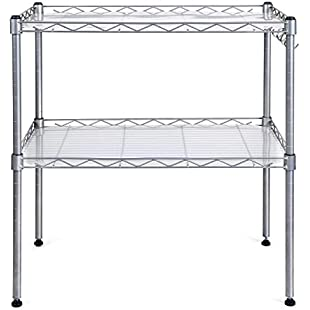 HOMFA Microwave Oven RackAdjustable 2-Tier Steel Stand Shelf Organiser with 4 Hanging Hooks(54*34*58cm)