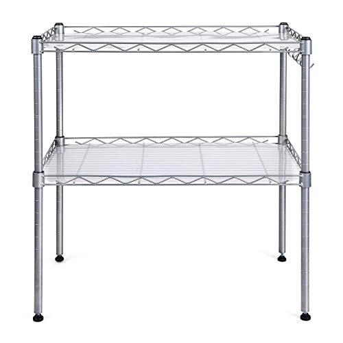 HOMFA Küchenregal Mikrowellenhalter Standregal Küchenschrank 2 Ablage Kohlenstoff Stahl mit 4 Haken 54x34x58cm