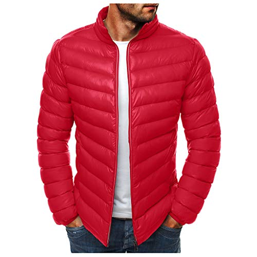 RANTA Herren Outdoor Sleeveless Puffer Vest Mit Tasche Tunnelzug Casual Verdicken Warm Halten Waistcost Herbst und Winter Wattierte Übergangsweste - Rot Größe 2XL