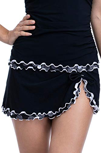 Profile by Gottex Women's Lettuce Ruffle Side Tie Skirted Swimsuit Bottom, On The Dot Black, 14