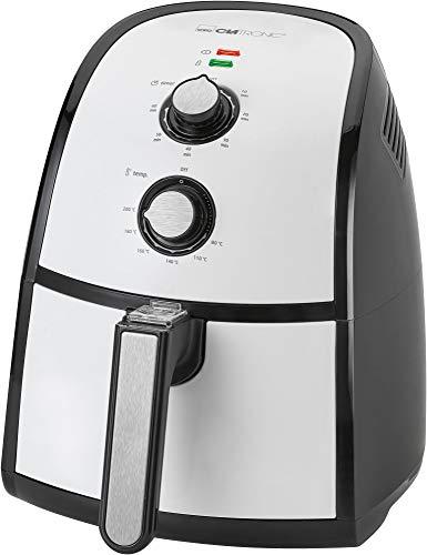 Clatronic FR 3667 H Heißluft-Fritteuse, 2,2 Liter Fassungsvermögen, stufenlos regelbarer Thermostat, Timer, 1500 W, schwarz/weiß