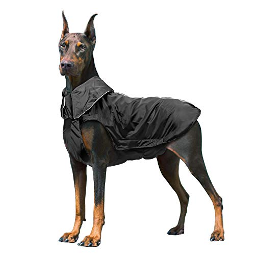 IREENUO Dog Raincoat, 100% Waterproof Dog Warm Coat for Fall Winter, Reflective Dog Jacket with Harness Hole for Medium Large Dogs - Black,3XL
