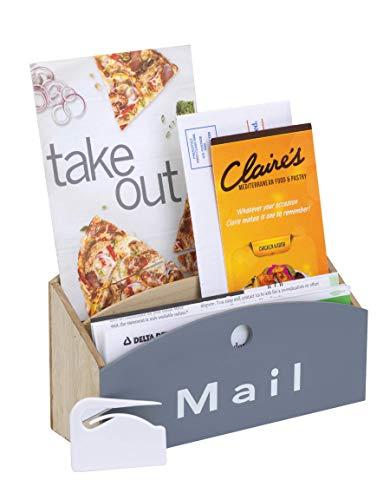 "10 Street Home Wood Desktop Mail Organizer with Free Magnetic Letter Opener; Modern Rustic Design; Mail Sorter, Mail Holder, Letter Holder; 2-Tier Compact Design 9.5"" (L) x 3.25"" (W) x 5.75"" (H)"