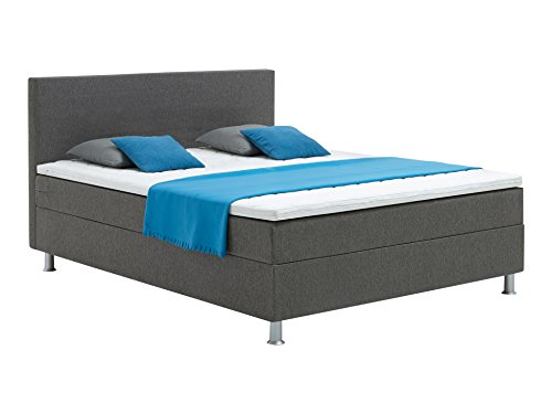 Atlantic Home Collection EDISON160-01 Boxspringbett Stoff, Liegefläche 160 x 200 cm,  grau