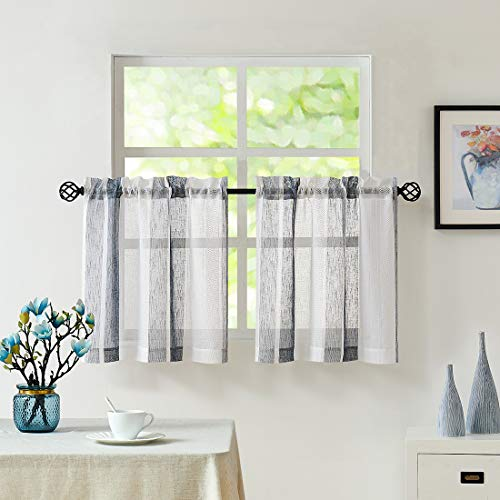 """Central Park Navy Blue and White Kitchen Window Curtain Tiers Vertical Stripe Sheer Boucle Linen Window Curtain, Living Room Decorative Rod Pocket Rustic Living 2 Panels (28"""" W x 36"""" L)"""